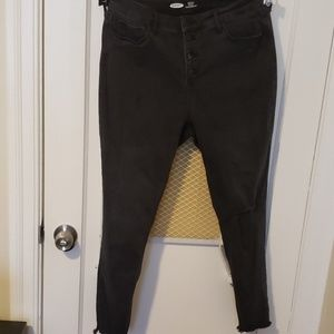 Black Button-Fly High-waisted Skinny Jeans